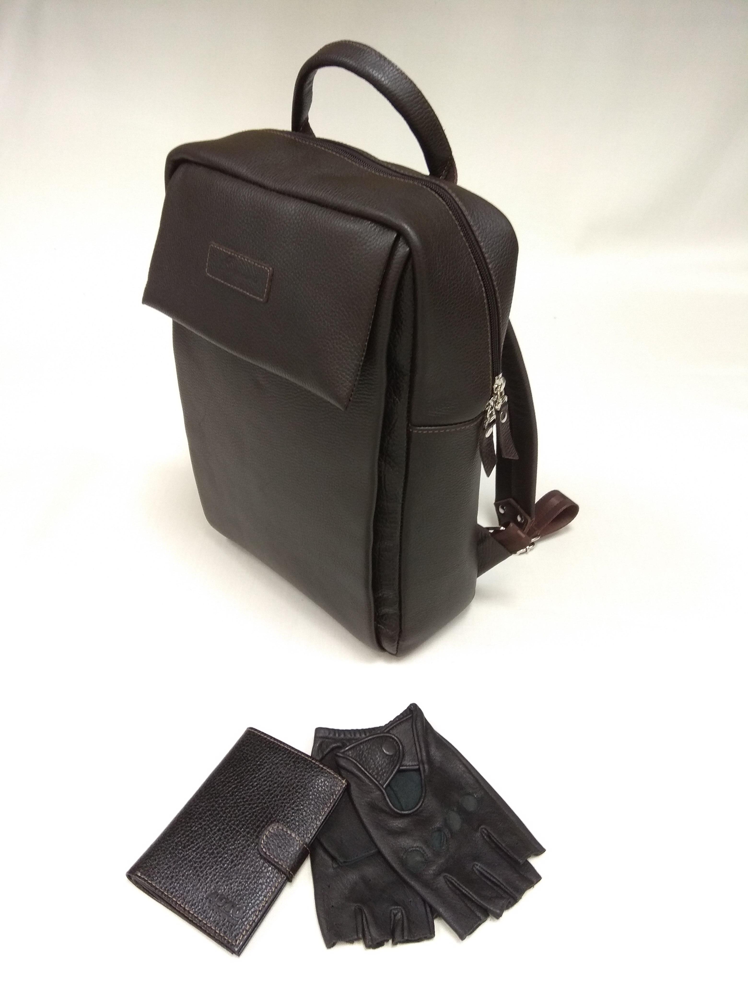 27206 Мужской рюкзак из натуральной кожи, обложка для автодокументов с отделением для денег и перчатки водителя из натуральной кожи (олень)