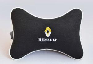 Подушка на подголовник из черного велюра RENAULT