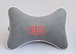 Подушка на подголовник из серого велюра KIA