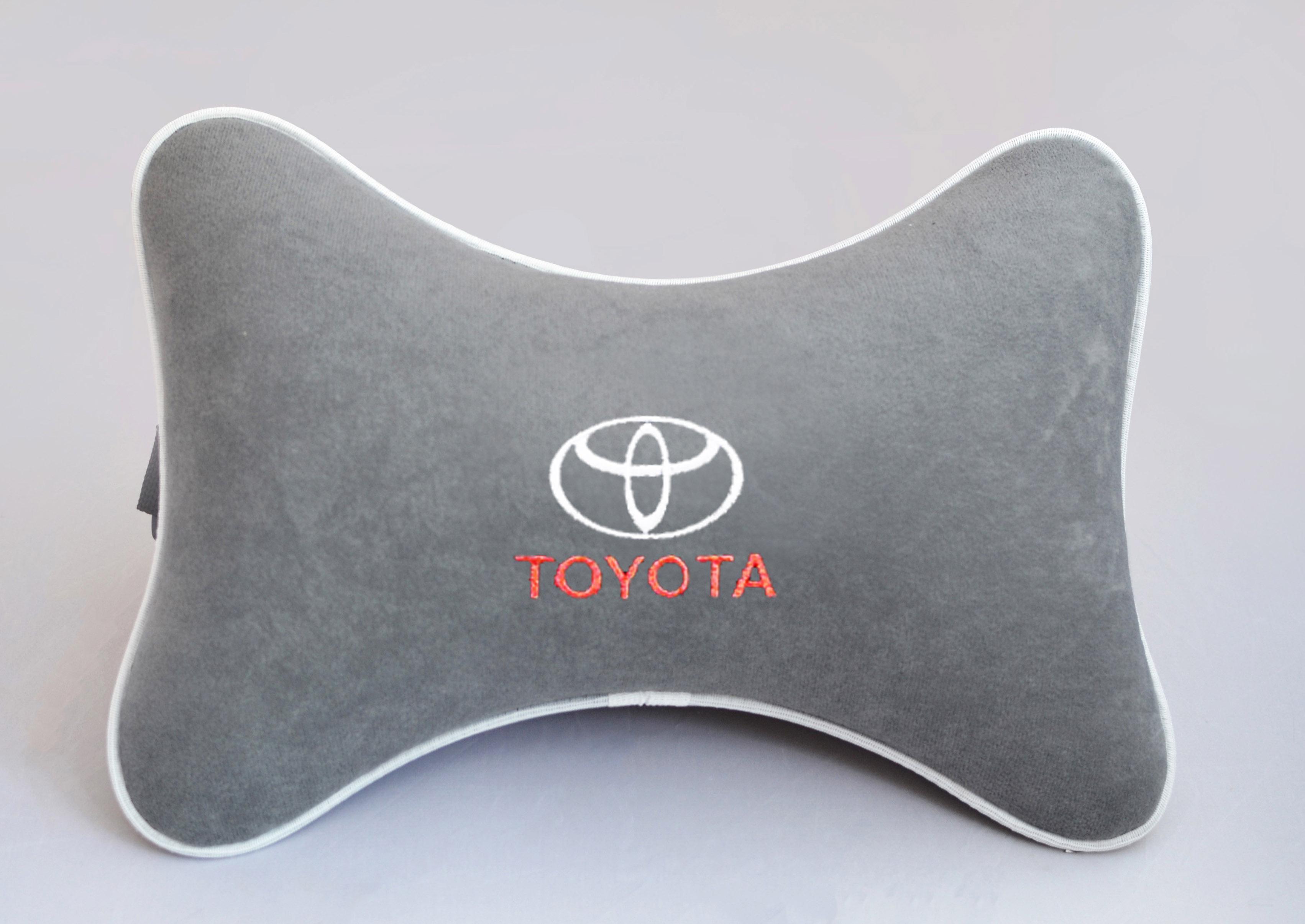 Подушка на подголовник из серого велюра TOYOTA