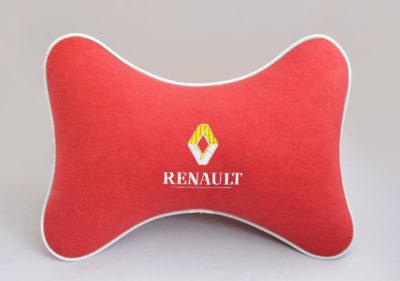 Подушка на подголовник из красного велюра RENAULT