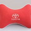 Подушка на подголовник из красного велюра TOYOTA