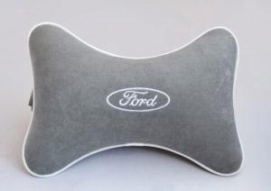 Подушка на подголовник из серого велюра FORD