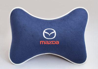 Подушка на подголовник из синего велюра MAZDA