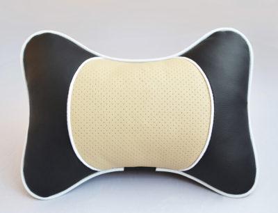 Подушка на подголовник со вставкой из бежевой перфорированной экокожи