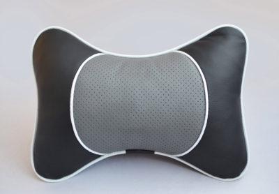 Подушка на подголовник со вставкой из серой перфорированной экокожи