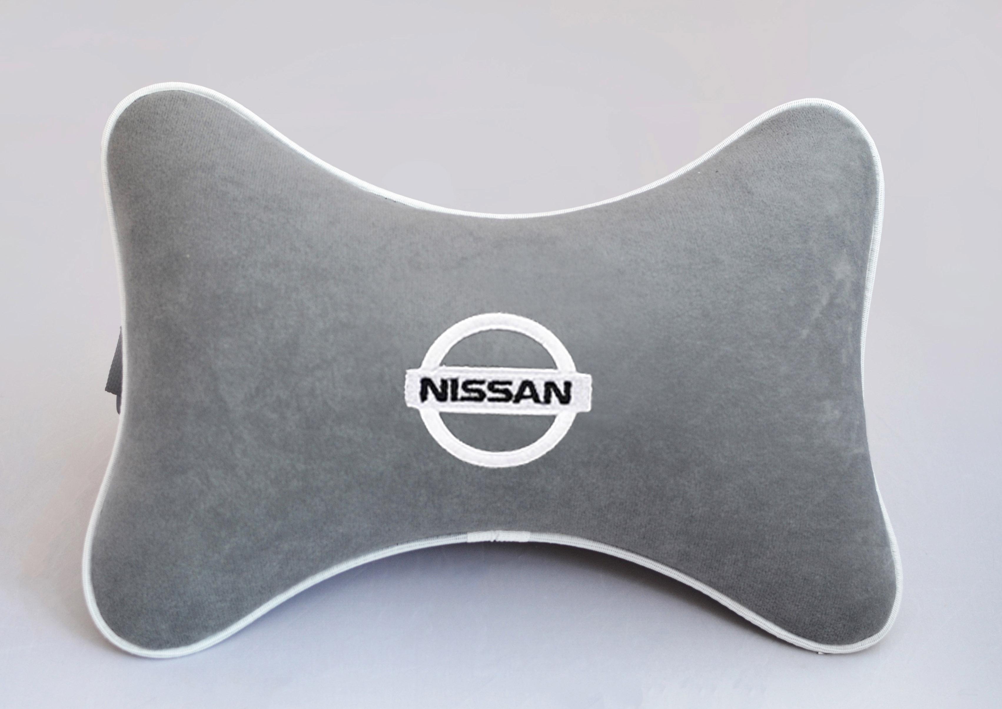 Подушка на подголовник из серого велюра NISSAN