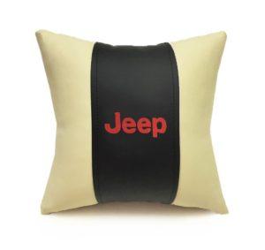 Подушка декоративная из экокожи JEEP (черн.-беж. 33Х33см)