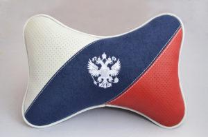 """Подушка на подголовник """"ЛЮКС"""" диагональ ТРИКОЛОР с вышивкой"""