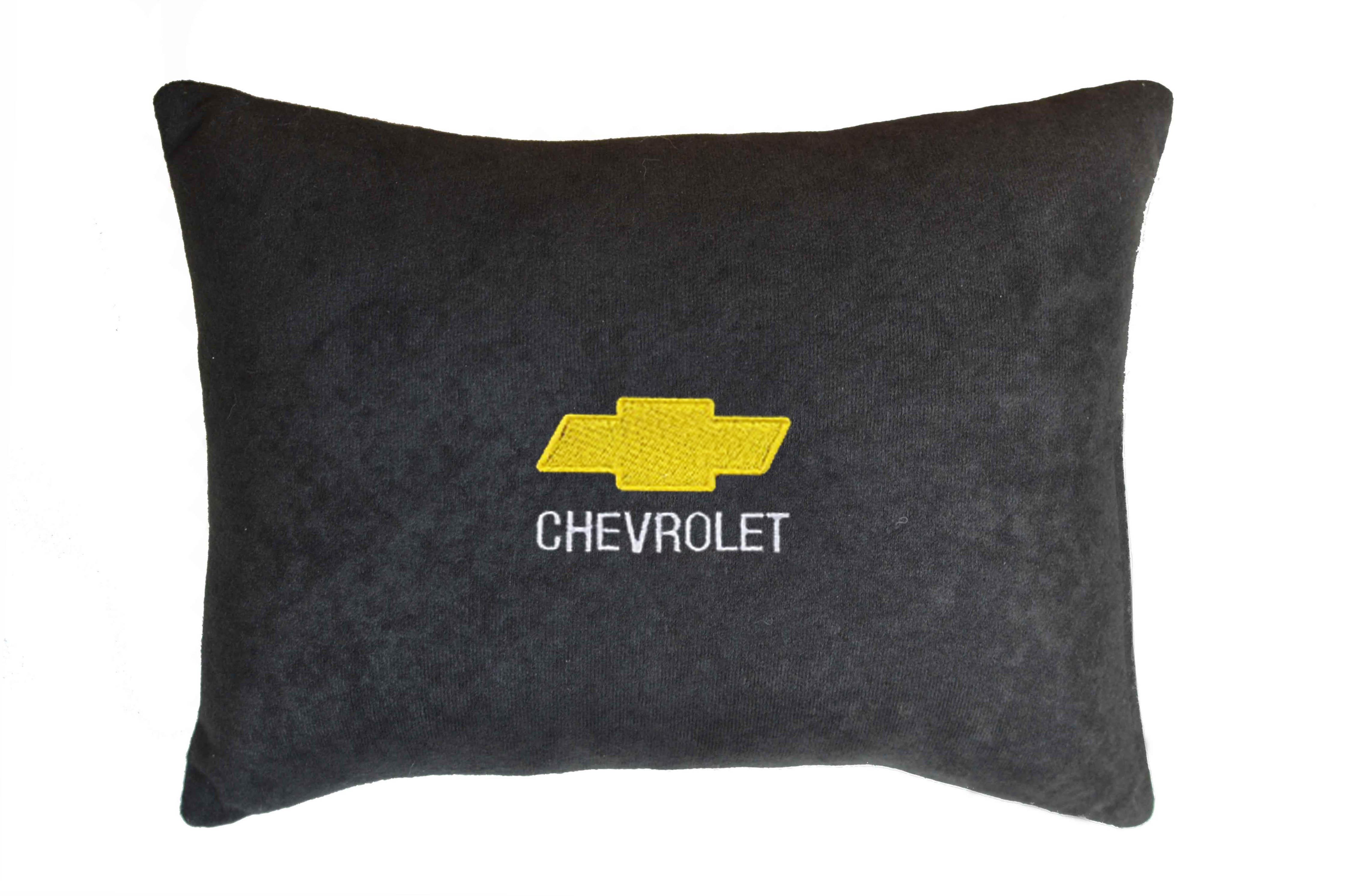 Подушка декоративная из черного велюра CHEVROLET