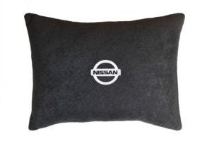 Подушка декоративная из черного велюра NISSAN