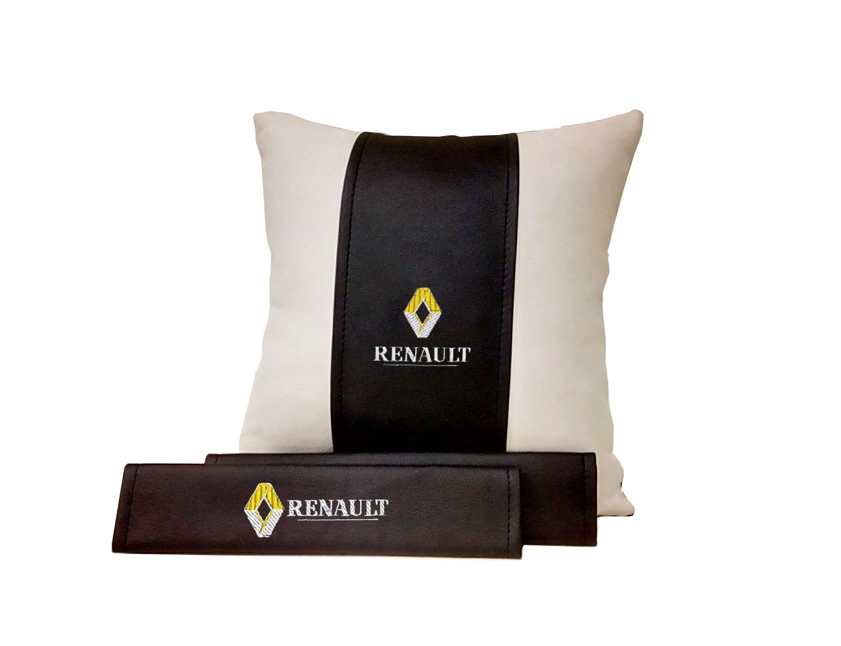 Подарочный набор (подушка декоративная+накладки на ремень безопасности), RENAULT