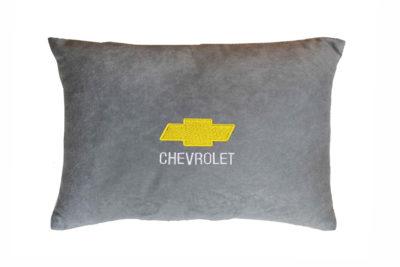 Подушка декоративная из серого велюра CHEVROLET