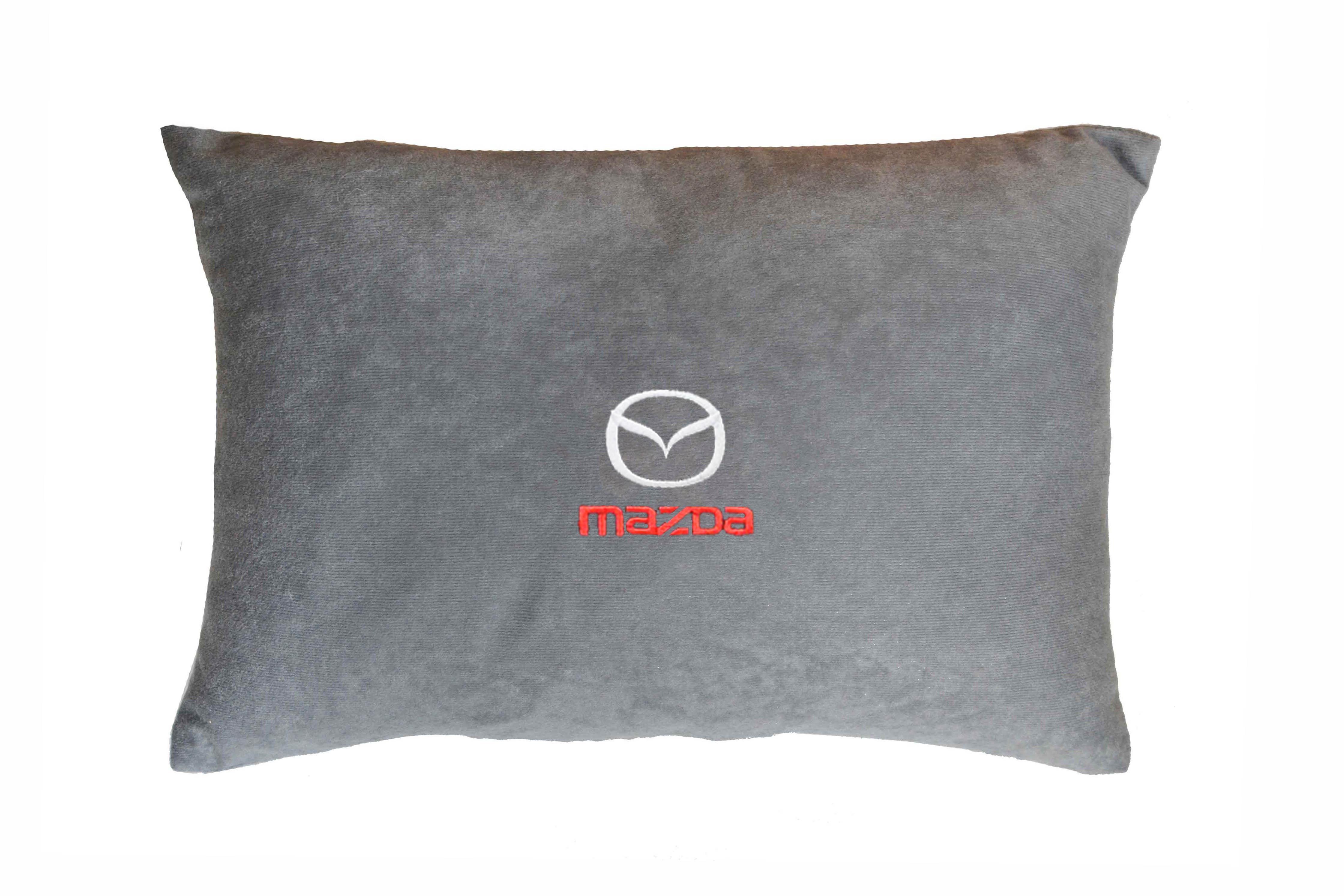 Подушка декоративная из серого велюра MAZDA