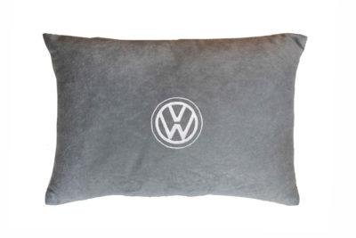 Подушка декоративная из серого велюра VOLKSWAGEN