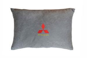 Подушка декоративная из серого велюра MITSUBISHI