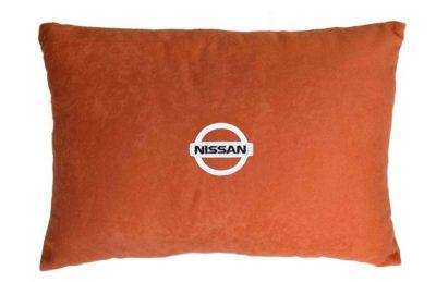 Подушка декоративная из красного велюра NISSAN