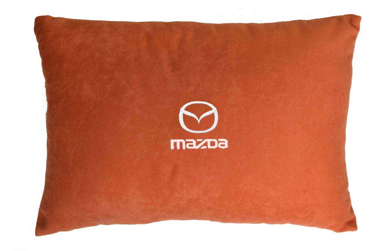 Подушка декоративная из красного велюра MAZDA
