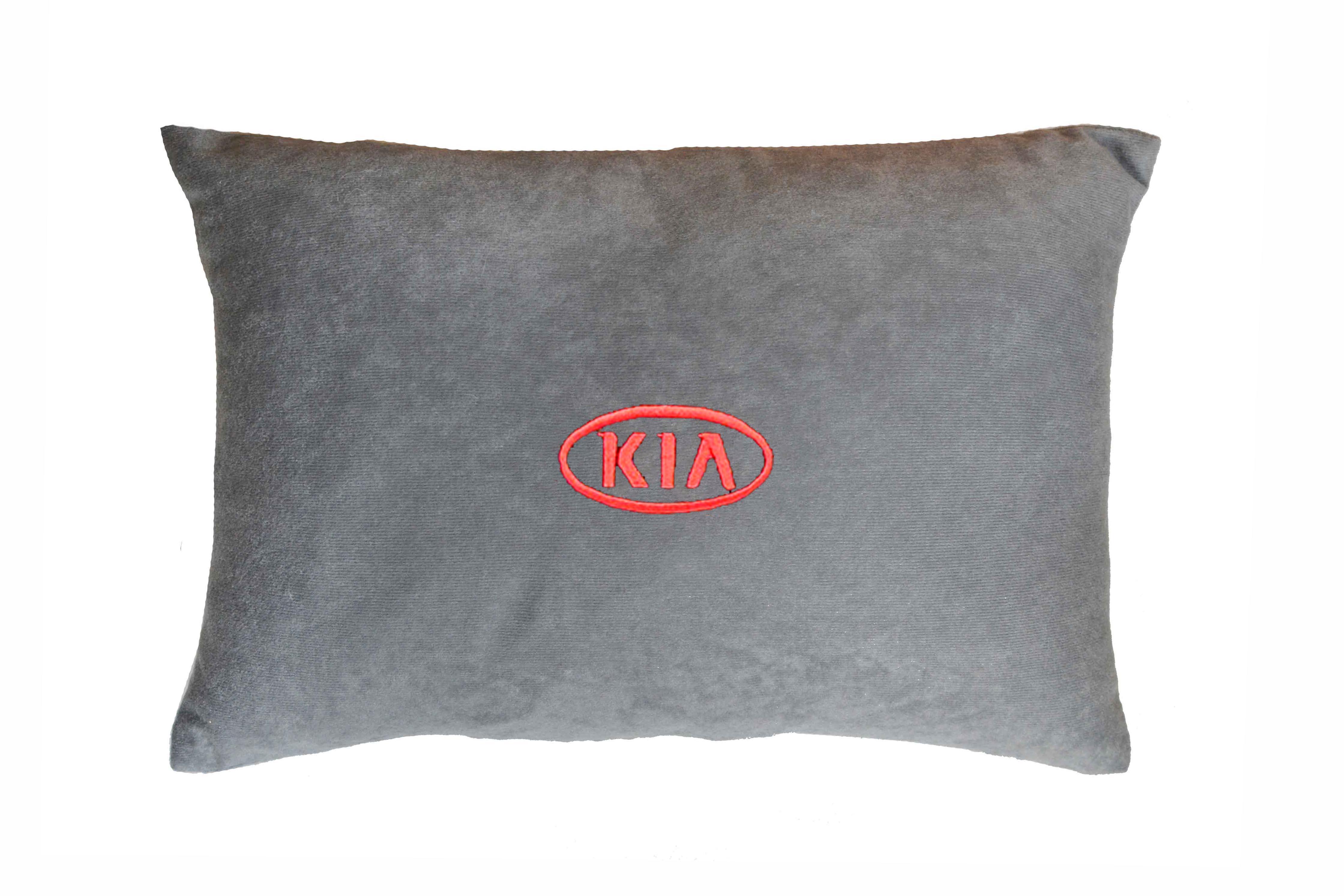 Подушка декоративная из серого велюра SKODA