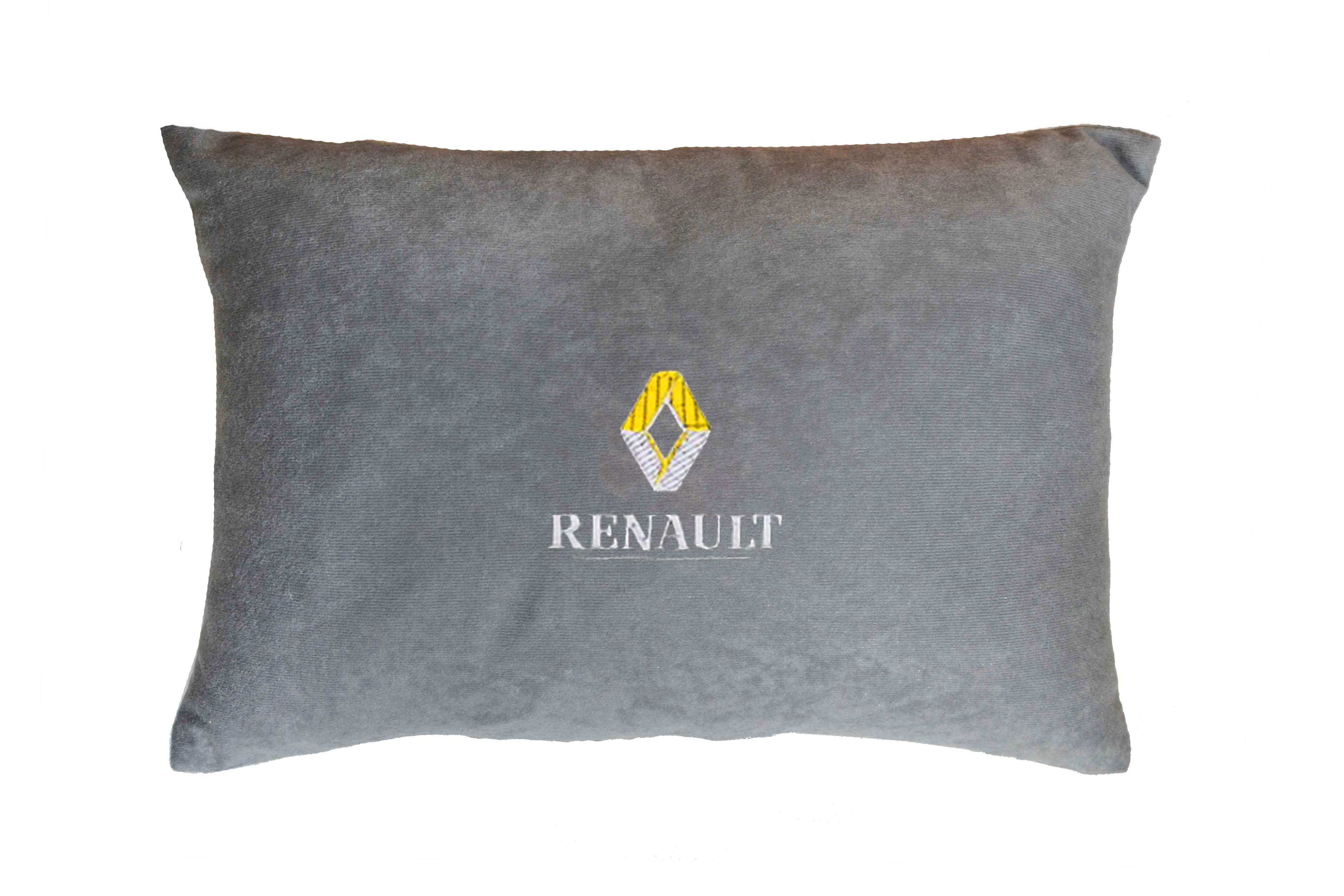 Подушка декоративная из серого велюра RENAULT