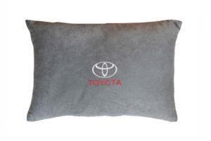 Подушка декоративная из серого велюра TOYOTA
