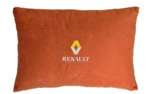 Подушка декоративная из красного велюра RENAULT