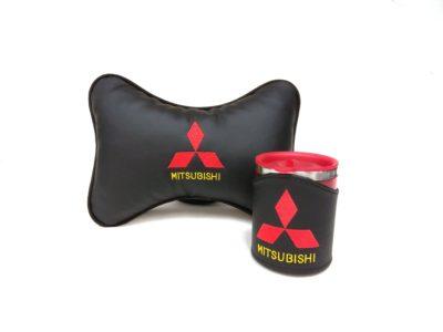 Подарочный набор подушка на подглоловник и термокружка в чехле из экокожи с логотипом MITSUBISHI