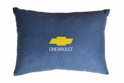 Подушка декоративная из синего велюра CHEVROLET