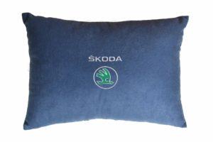 Подушка декоративная из синего велюра SKODA