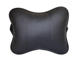 Подушка на подголовник из экокожи увеличенного размера, черная