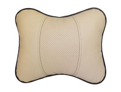 Подушка на подголовник из экокожи увеличенного размера, бежевая