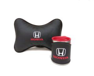 Подарочный набор подушка на подглоловник и термокружка в чехле из экокожи с логотипом HONDA