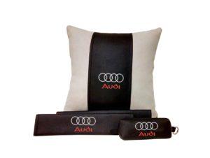 Подарочный набор (подушка декоративная+накладки на ремень безопасности+ ключница), AUDI