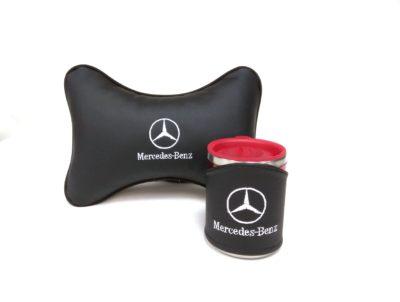 Подарочный набор подушка на подглоловник и термокружка в чехле из экокожи с логотипом MERCEDES-BENZ