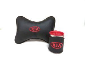 Подарочный набор подушка на подглоловник и термокружка в чехле из экокожи с логотипом KIA