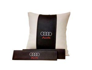 Подарочный набор (подушка декоративная+накладки на ремень безопасности), AUDI