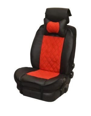 Накидка на полное сидение, велюр (центр) + экокожа (края) + подушка, красный-черный
