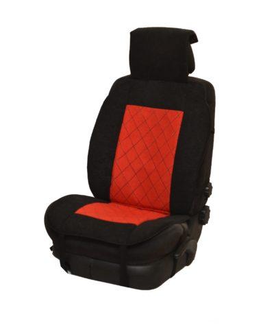 Накидка на полное сидение, велюр (центр) + велюр (края), красный-черный
