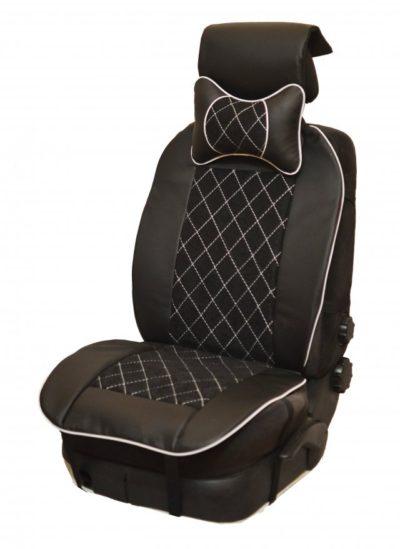Накидка на полное сидение, велюр (центр) + экокожа (края) + белая отстрочка + подушка, черный-черный