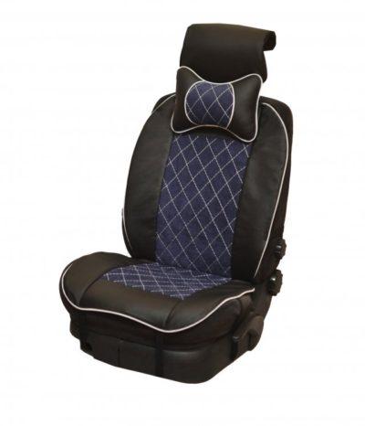 Накидка на полное сидение, велюр (центр) + экокожа (края) + подушка, синий-черный