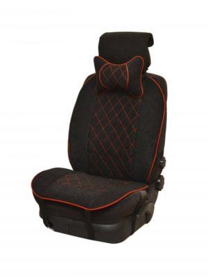 Накидка на полное сидение, велюр (центр) + велюр (края) + красная отстрочка + подушка, черный-черный