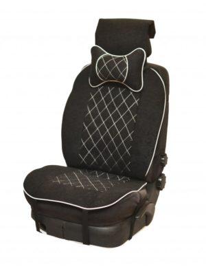 Накидка на полное сидение, велюр (центр) + велюр (края) + белая отстрочка + подушка,черный-черный