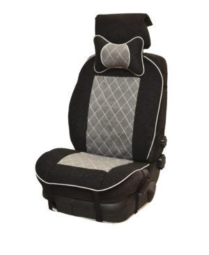 Накидка на полное сидение, велюр (центр) + велюр (края) + подушка, серый-черный