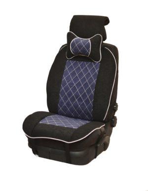 Накидка на полное сидение, велюр (центр) + велюр (края) + подушка, синий-черный