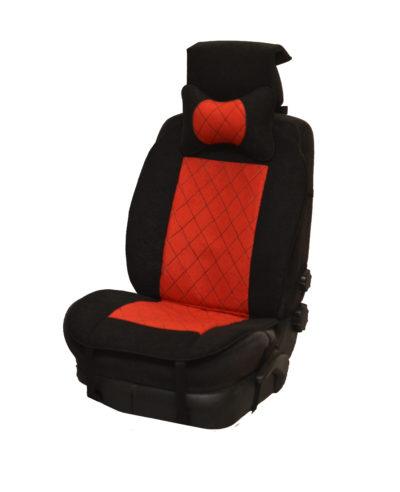 Накидка на полное сидение, велюр (центр) + велюр (края) + подушка, красный-черный