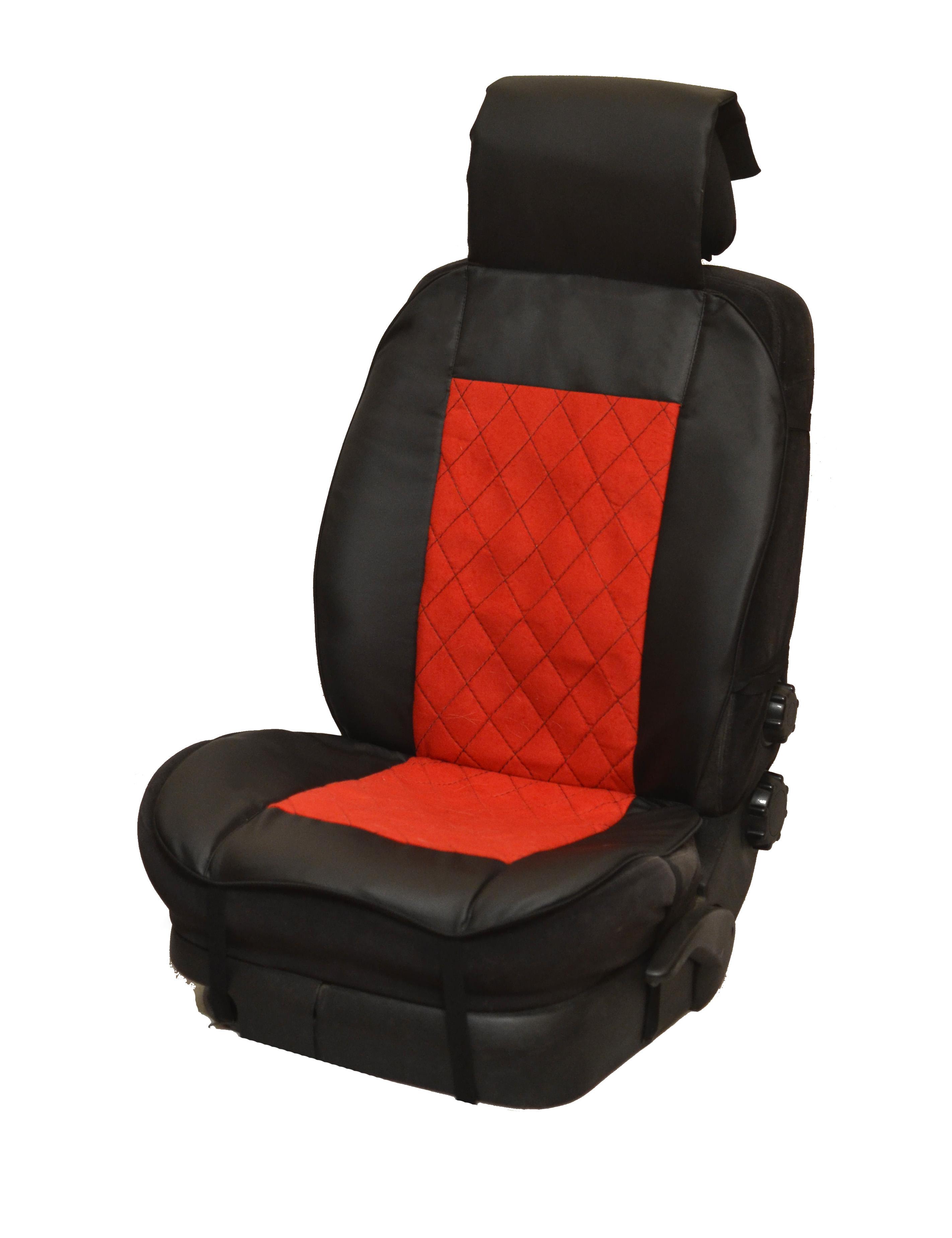 Накидка на полное сидение, велюр (центр) + экокожа (края) + красная отстрочка + подушка, черный-черный