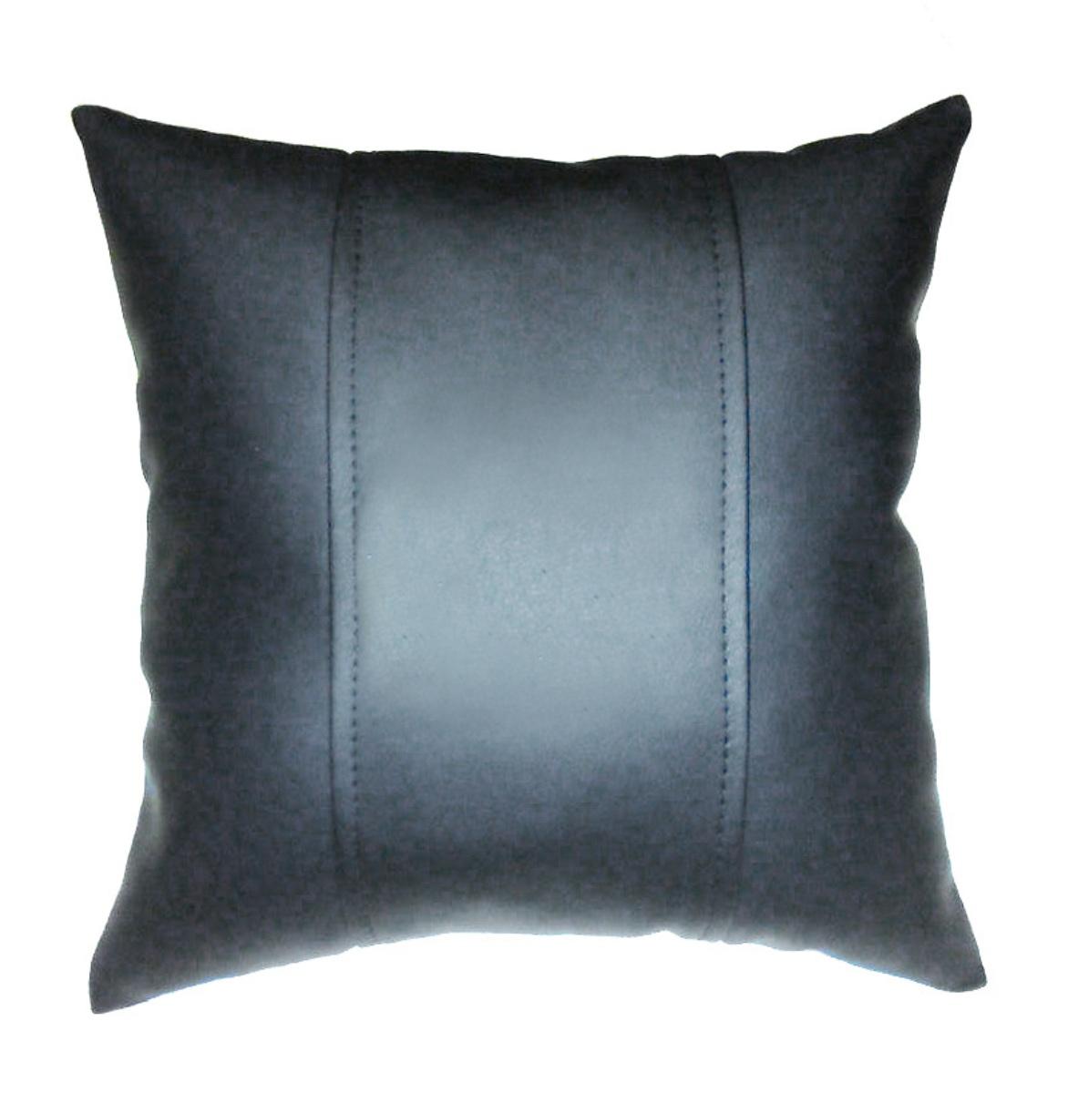 Подушка декоративная из экокожи без логотипа (черн. 33Х33см)