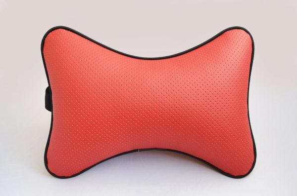 Подушка на подголовник из красной перфорированной экокожи
