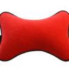 Подушка на подголовник из красного велюра