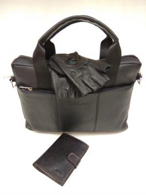 27205 Мужская сумка (арт.308) из натуральной кожи и обложка для автодокументов с отделением для денег и перчатки водителя из натуральной кожи (олень)